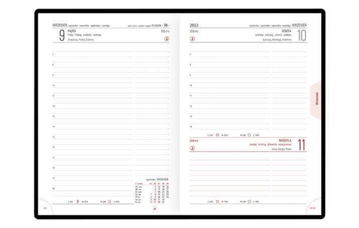 Kalendarz książkowy A-5 STANDARD