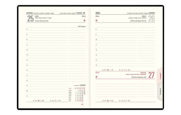 Model okładki Kalendarz książkowy B-6 LUX