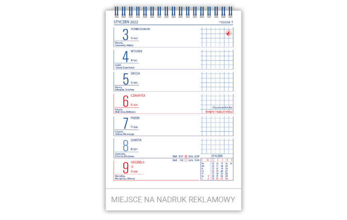 Kalendarz biurowy MERKURY