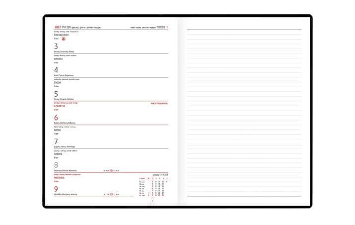 Kalendarz książkowy B-5 NOTE